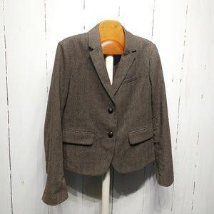 Gap Academy Wool Blazer, Brown Tweed